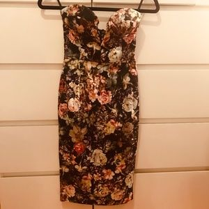 ASOS | Strapless Bustier Floral Midi Dress | New